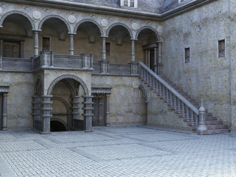 Старая каменная предпосылка двора замка стоковые фотографии rf