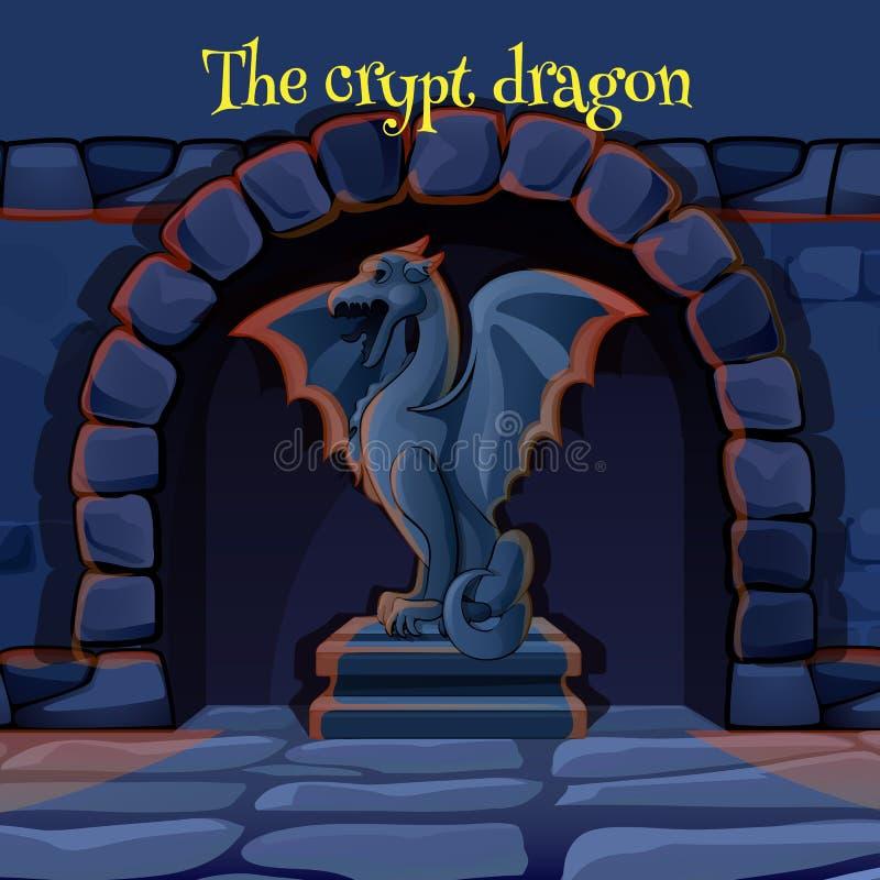 Старая каменная статуя горгульи в замке иллюстрация штока