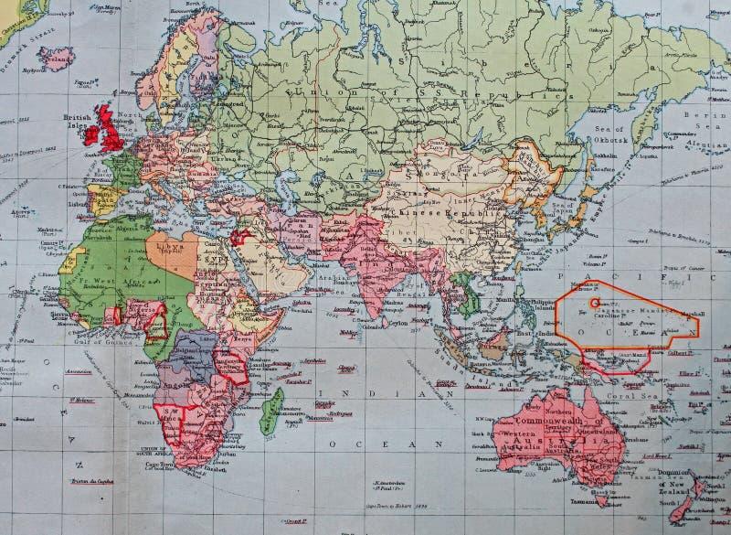 Старая карта 1945 восточной Британской империи стоковые изображения