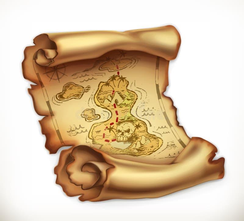 Старая карта, остров сокровища зацепляет икону иллюстрация вектора