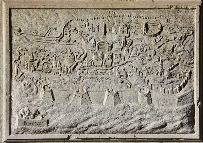 Старая карта Рима, Вечного города стоковые изображения