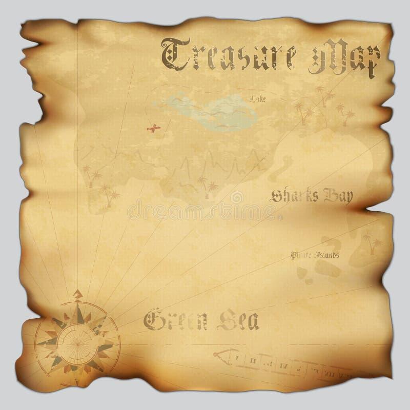Старая карта сокровища иллюстрация вектора