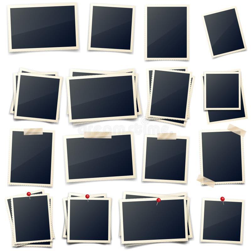Старая карта фото, высекаенные стороны, рамка, фильм Ретро, винтажный фотоснимок с тенью Снимок цифров, изображение Искусство фот иллюстрация штока