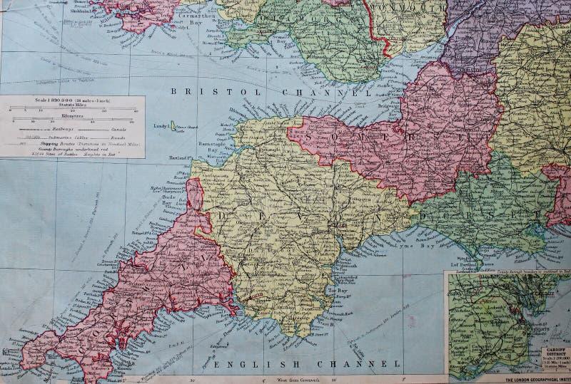 Старая карта 1945 юга к западу от Англии стоковая фотография
