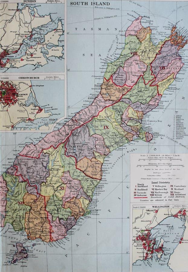 Старая карта 1945 южного острова Новая Зеландия, с вставками городов стоковая фотография rf