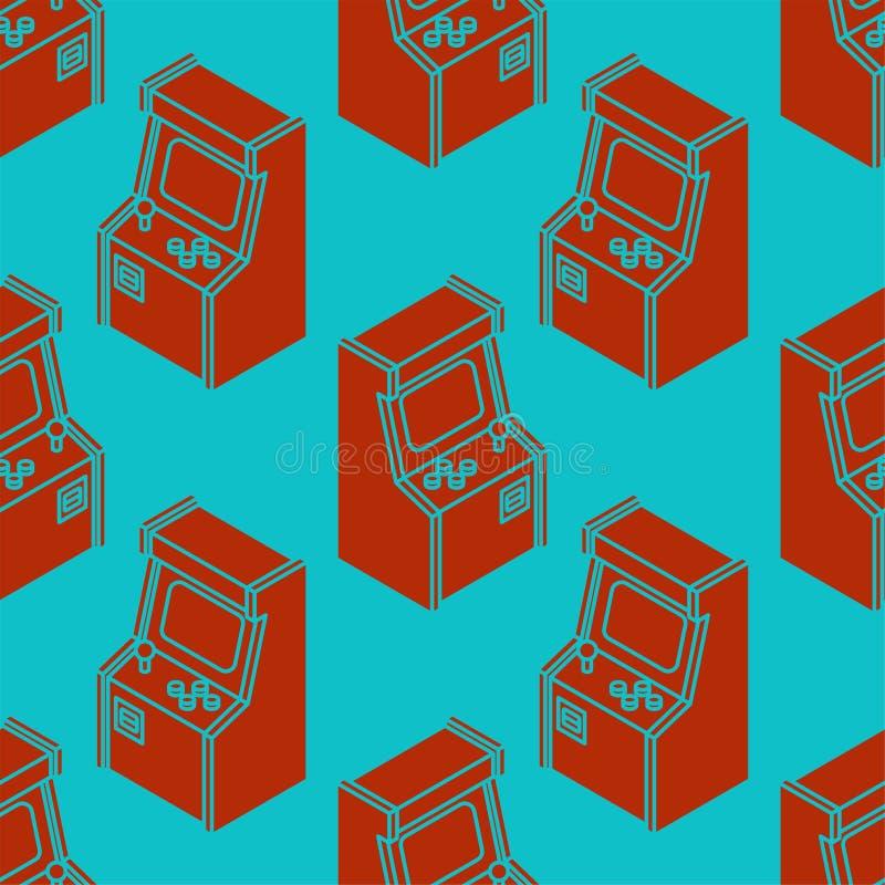 Старая картина игры машины аркады безшовная Ретро pla видеоигры иллюстрация вектора