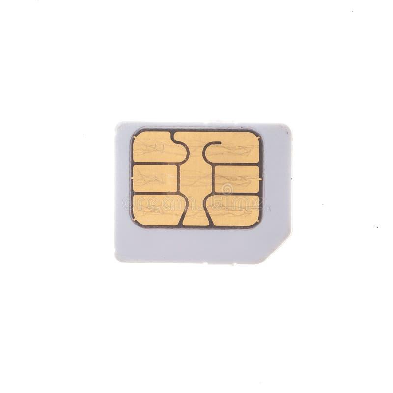 Старая карточка sim изолированная на белой предпосылке стоковая фотография rf