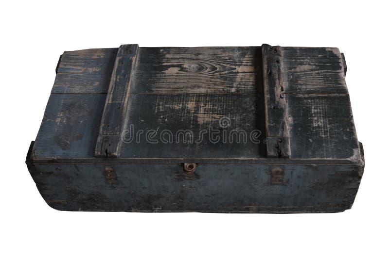 Старая квадратная деревянная клеть, при крышка закрытая и изолированная на белой предпосылке с путем клиппирования стоковое изображение