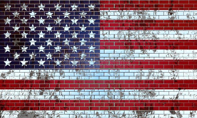 Старая кирпичная стена покрашенная в флаге США иллюстрация вектора
