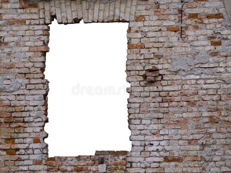 Старая кирпичная стена с космосом окна стоковое фото rf