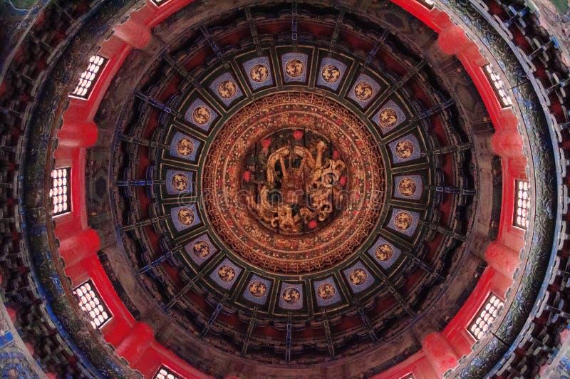 Старая китайская архитектура/здание Plafond, кессон Qianqiu окрашивает, имперский сад, запретный город стоковая фотография rf