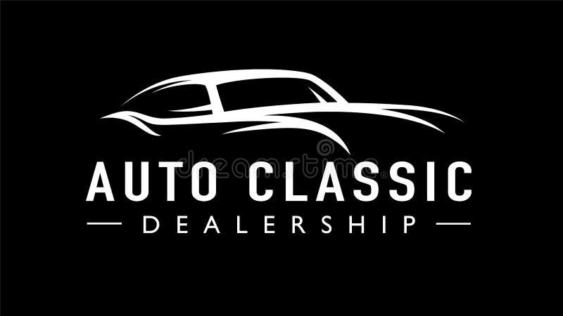 Старая классическая автоматическая линия силуэт концепции логотипа автомобиля стиля ретро иллюстрация вектора