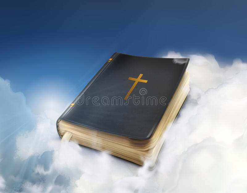 Старая книга библии в облаках бесплатная иллюстрация