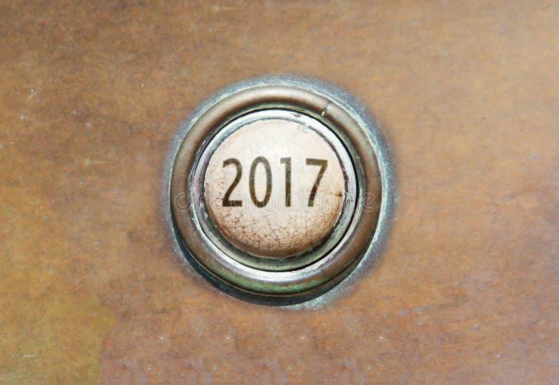 Старая кнопка - 2017 стоковые фотографии rf