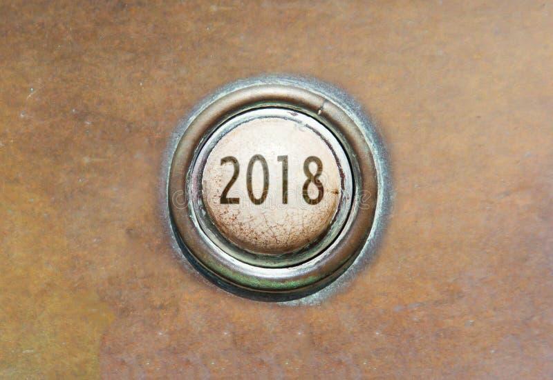 Старая кнопка - 2018 стоковое изображение rf