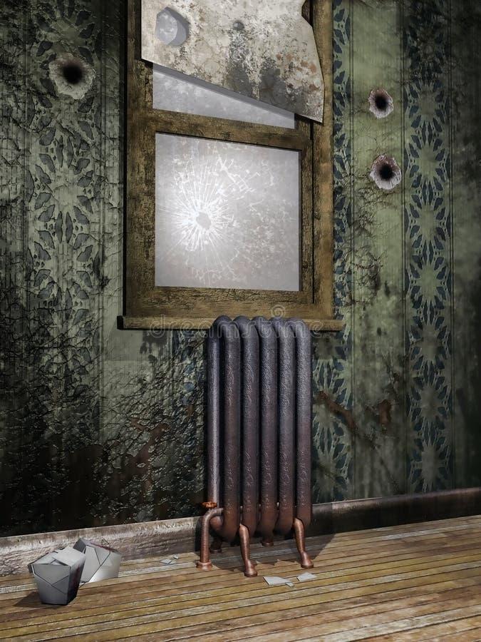 Старая комната с сломленным окном иллюстрация вектора