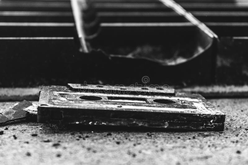 Старая компактная кассета стоковое фото rf