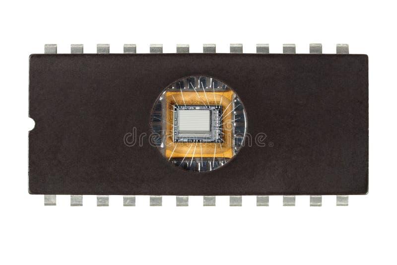 Старая компьютерная микросхема стоковое фото rf