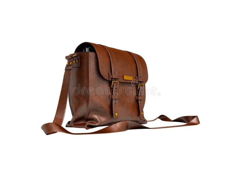Старая коричневая кожаная сумка над плечом для документов 3d представить стоковые изображения rf