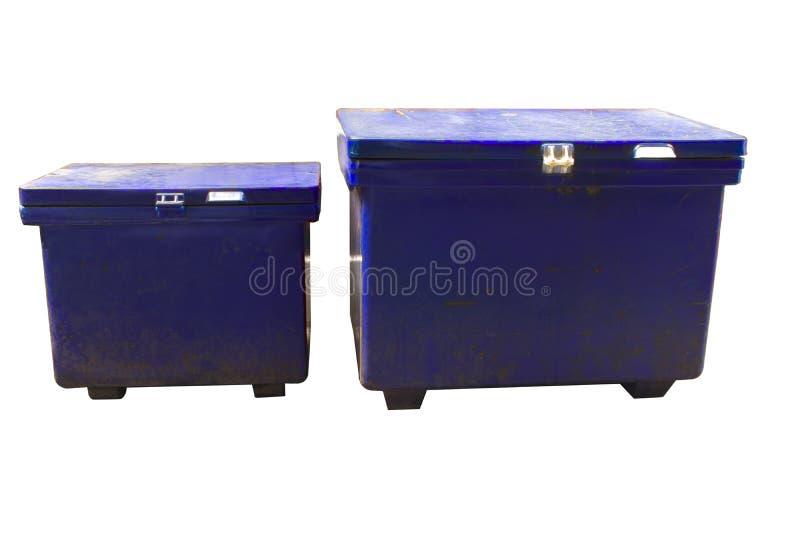 Старая коробка льда в Таиланде может положить напитки, много чего погрузите в этой коробке будучи покрыванным льдами для продажи  стоковые изображения