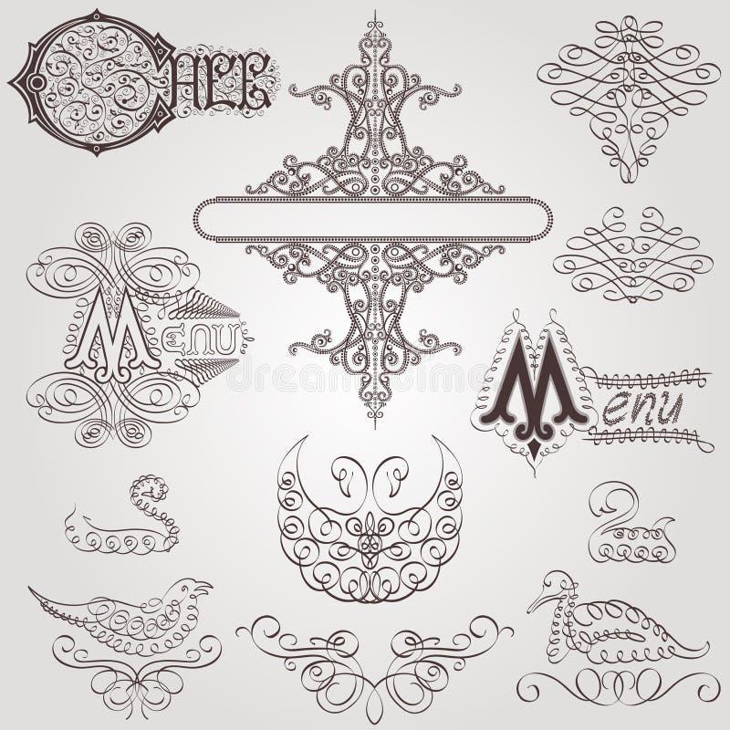 Старая королевская птица элемента каллиграфическая иллюстрация штока