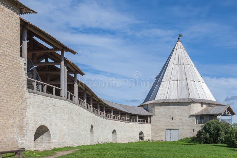 Старая крепость Staraya Ladoga, России стоковая фотография rf