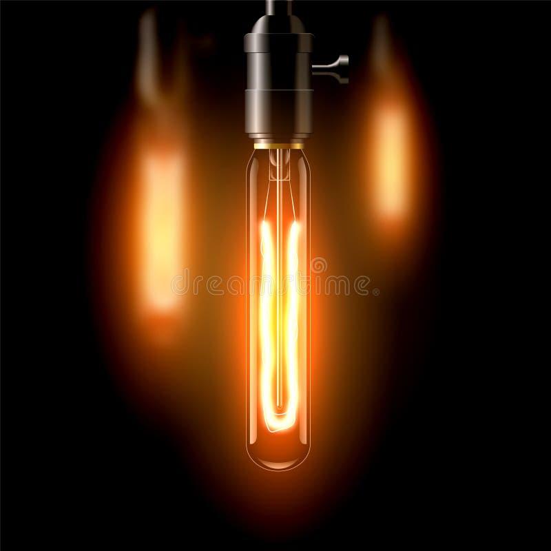 Старая лампа накаливания, вытянутая форма На темной предпосылке Создает уют иллюстрация вектора