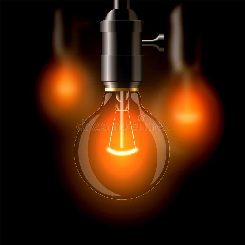 Старая лампа накаливания, закопченная форма На темной предпосылке Создает уют иллюстрация вектора