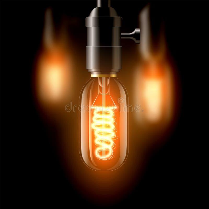 Старая лампа накаливания, овальная в форме На темной предпосылке Создает уют иллюстрация штока