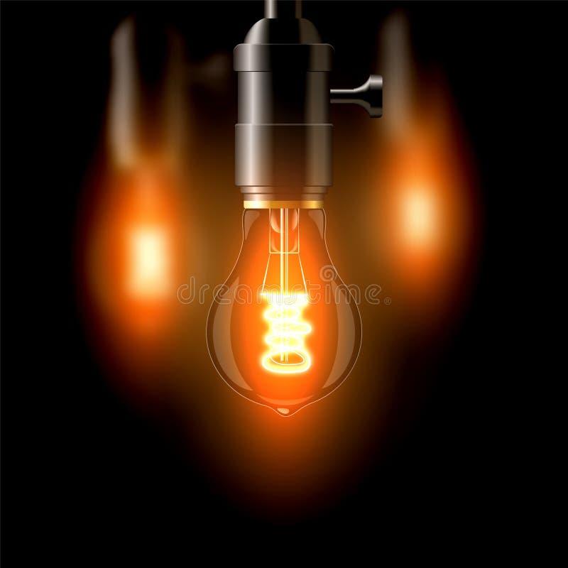 Старая лампа накаливания, стандартная форма На темной предпосылке Создает уют бесплатная иллюстрация