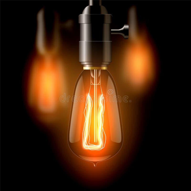 Старая лампа накаливания, сформированный teardrop На темной предпосылке Создает уют иллюстрация штока