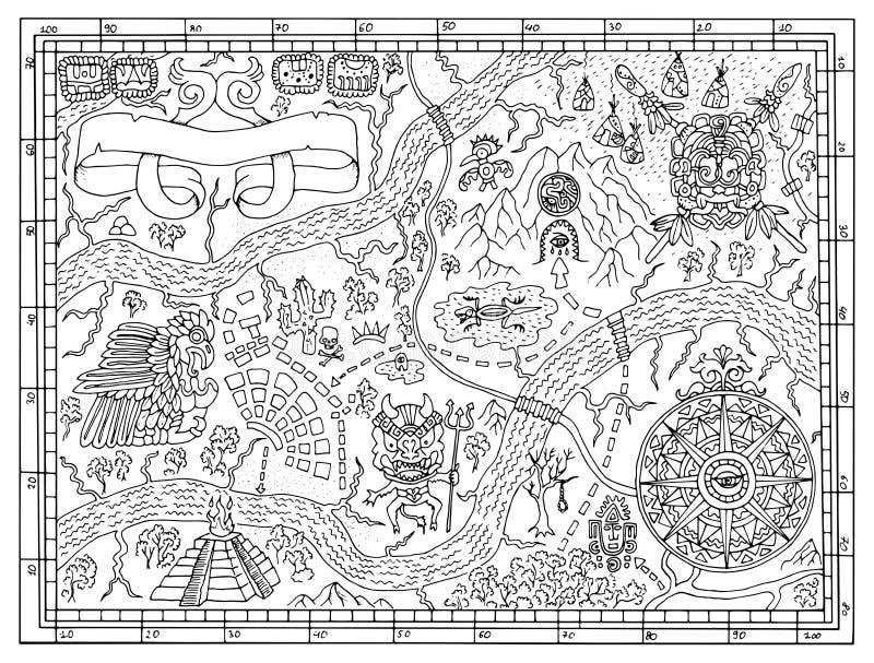 Старая майяская карта в концепции поиска сокровищ иллюстрация штока