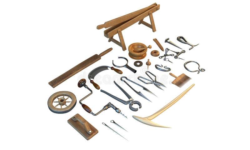 Старая мастерская с винтажными инструментами, плотника иллюстрация 3d иллюстрация штока
