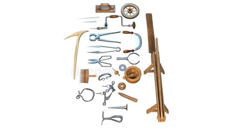 Старая мастерская с винтажными инструментами, плотника иллюстрация 3d иллюстрация вектора