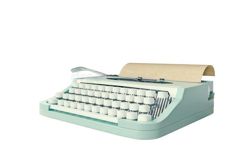 Старая машинка изолированная на белом, концепция сочинительства, публицистики, создавая документ, ностальгия бесплатная иллюстрация