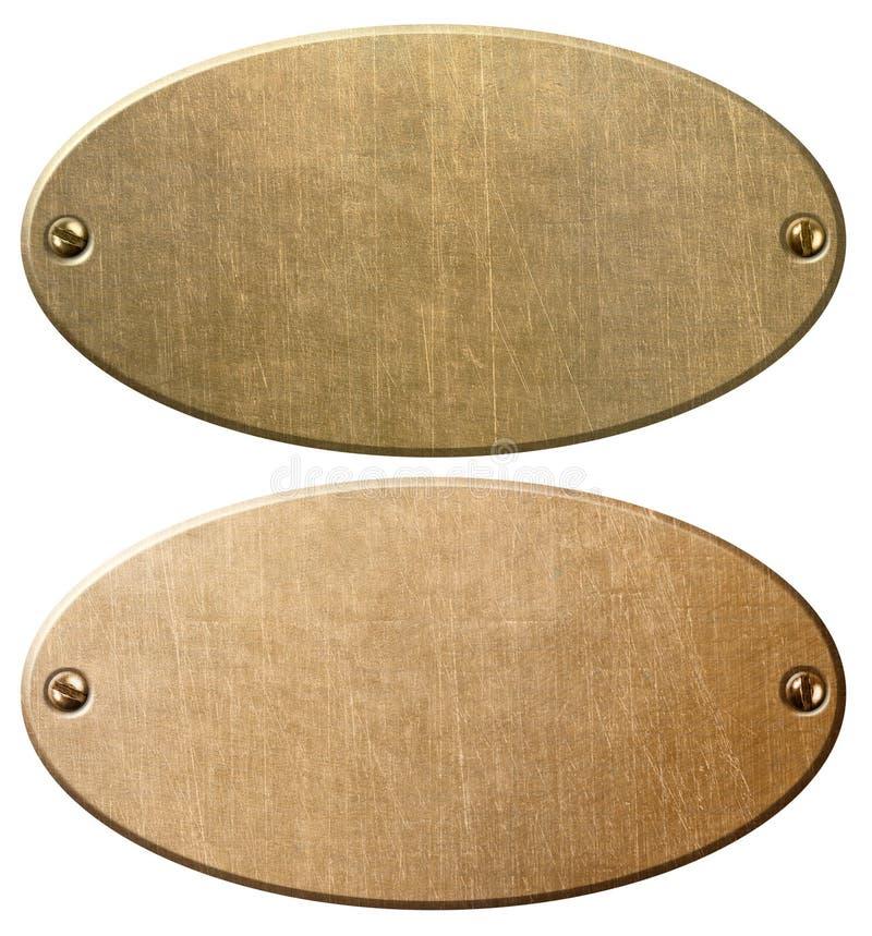 Старая медь и латунные овальные металлические пластины с иллюстрацией пути клиппирования 3d стоковое изображение