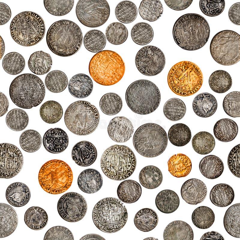 Старая модель монет Антикварные серебряные монеты польско-литовского Содружества, изолированные на белом фоне Династия Васа стоковые фото