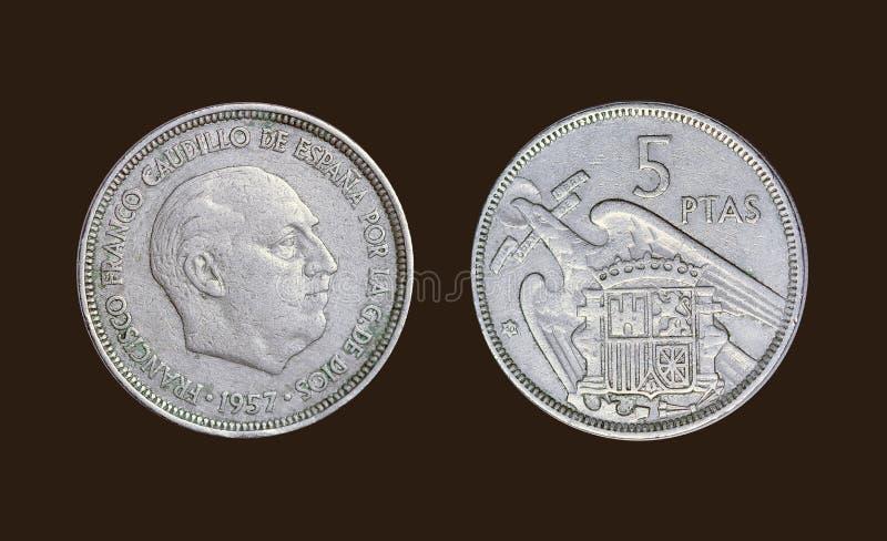 Старая монетка в годе 1957 Испании стоковые изображения