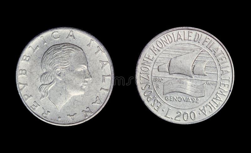 Старая монетка в Италии, liret 200 стоковая фотография