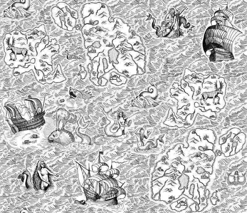 Старая морская карта бесплатная иллюстрация