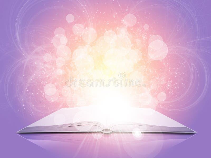 Старая открытая книга с волшебными светом и падающими звездами иллюстрация вектора
