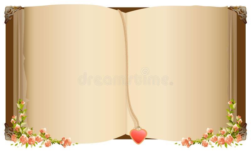 Старая открытая книга с закладкой в форме сердца Ретро старая книга украшенная с цветками иллюстрация вектора
