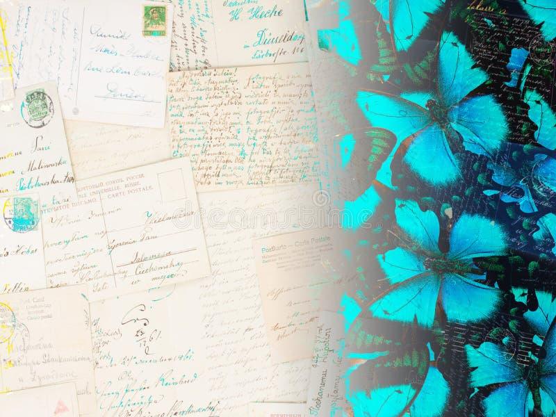 Старая открытка бабочки стоковые фото