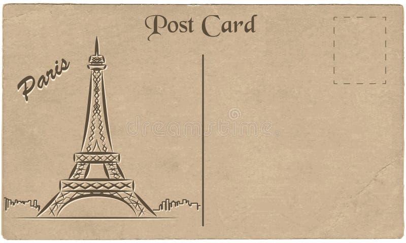Старая открытка от Парижа с чертежом Эйфелева башни stylization бесплатная иллюстрация