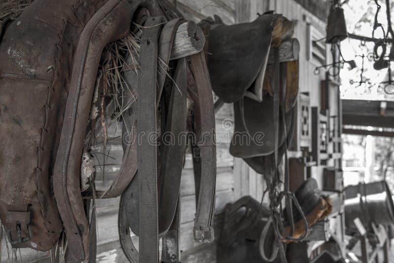 Старая лошадь и Sadle городка минирования стоковое фото rf