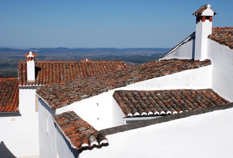 старая плитка крыш Португалии стоковое фото