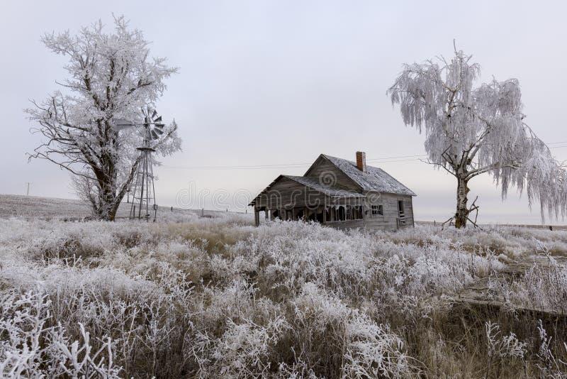 Старая получившаяся отказ сельская усадьба в зиме стоковая фотография rf