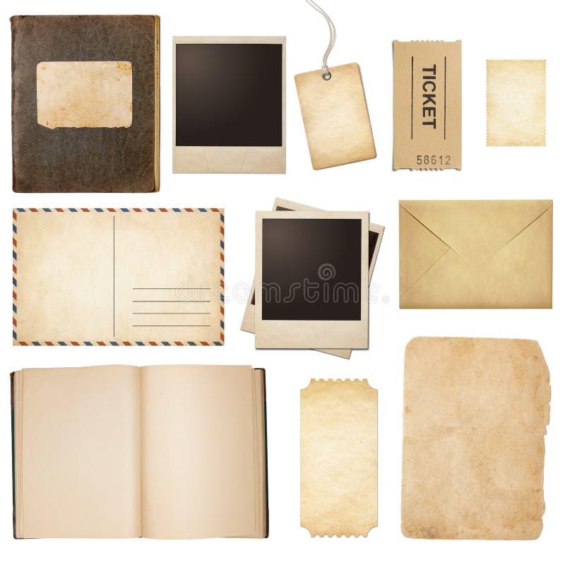 Старая почта, бумага, книга, поляроидные рамки, штемпель стоковые изображения rf