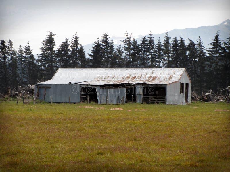 Старая полинянная ферма - Кентербери, Новая Зеландия стоковое фото rf