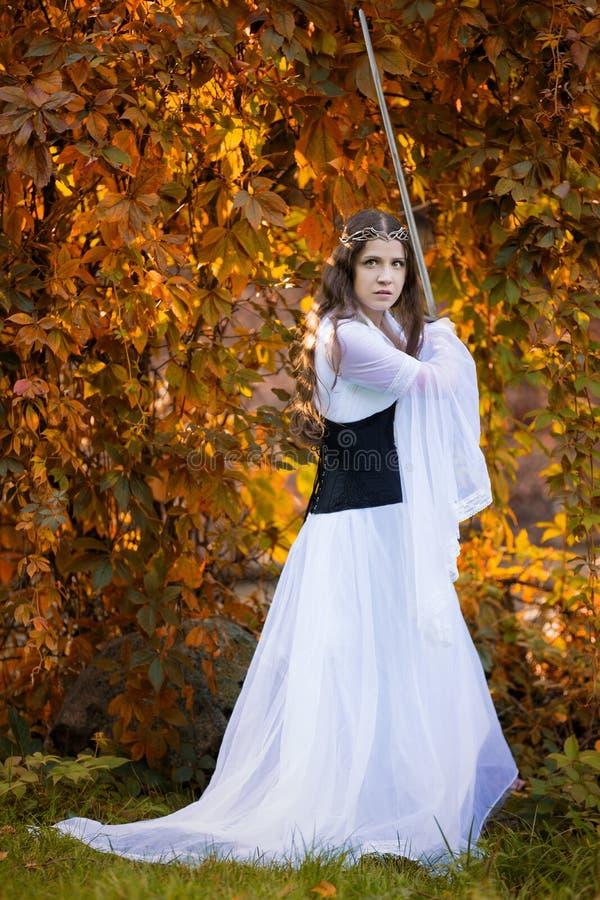 Старая принцесса с шпагой стоковая фотография rf